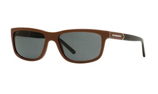 Burberry Rectangular acetate Men Sunglasses Brown / Grey Shaded