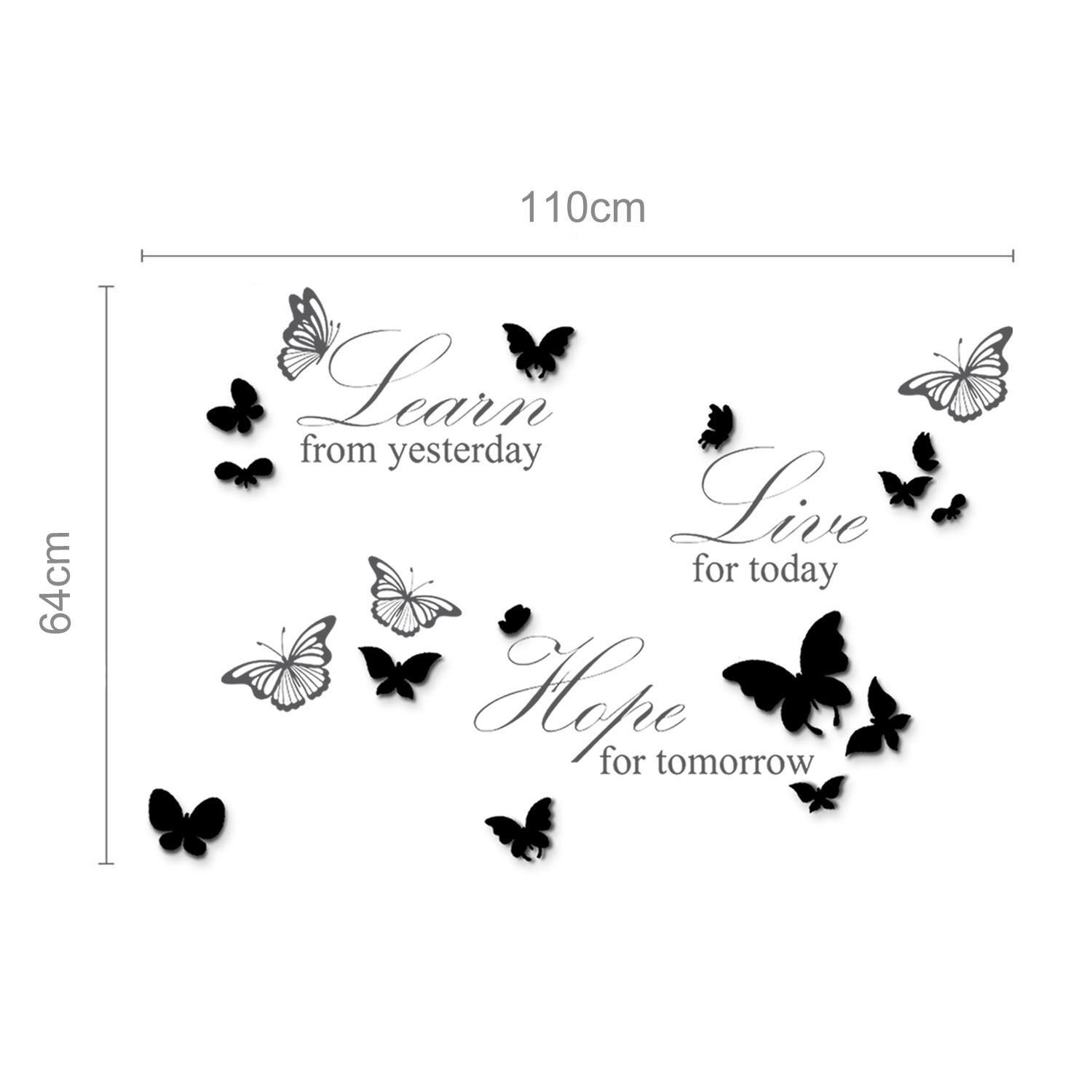 14 Mirror Butterflies Wall Art + Live Learn Hope Wall Stickers, Kitchen, Bathroom, Living room, Self-adhesive, Decal, Butterflies Decoration