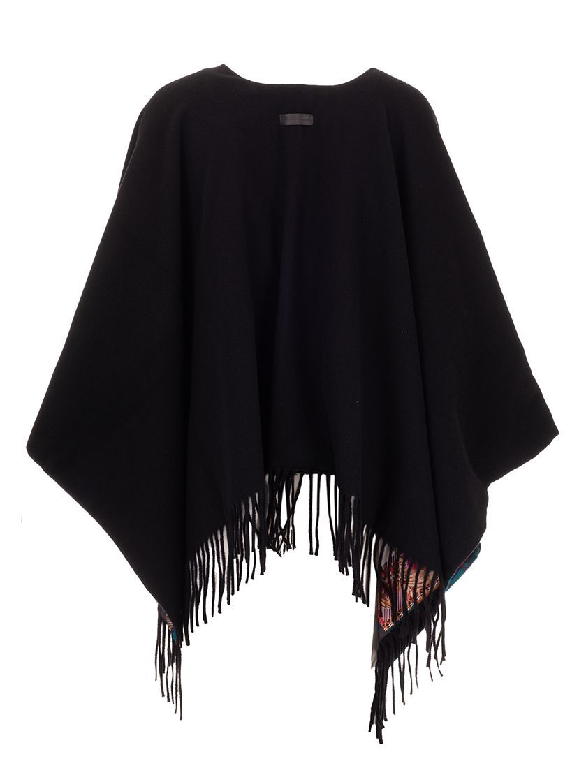 SALVATORE FERRAGAMO WOMEN'S 327970 BLACK WOOL PONCHO