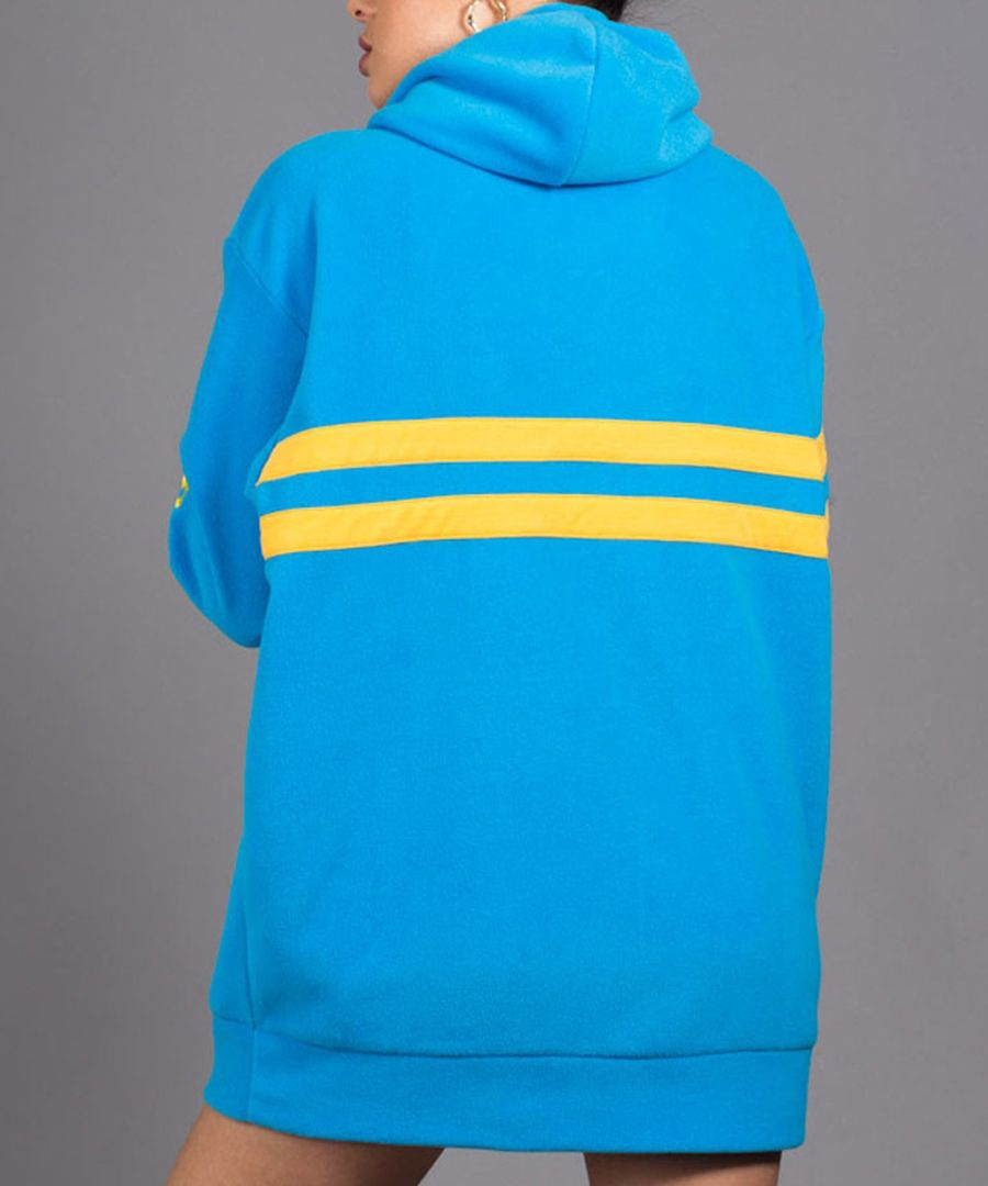 Point blue & yellow cotton blend hoodie