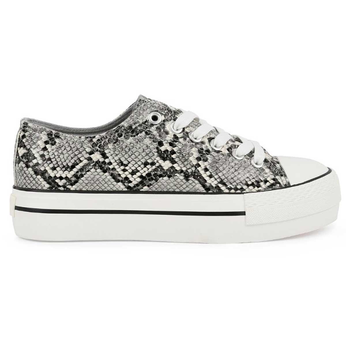 Montevita Lace Up Sneaker in Grey Snake