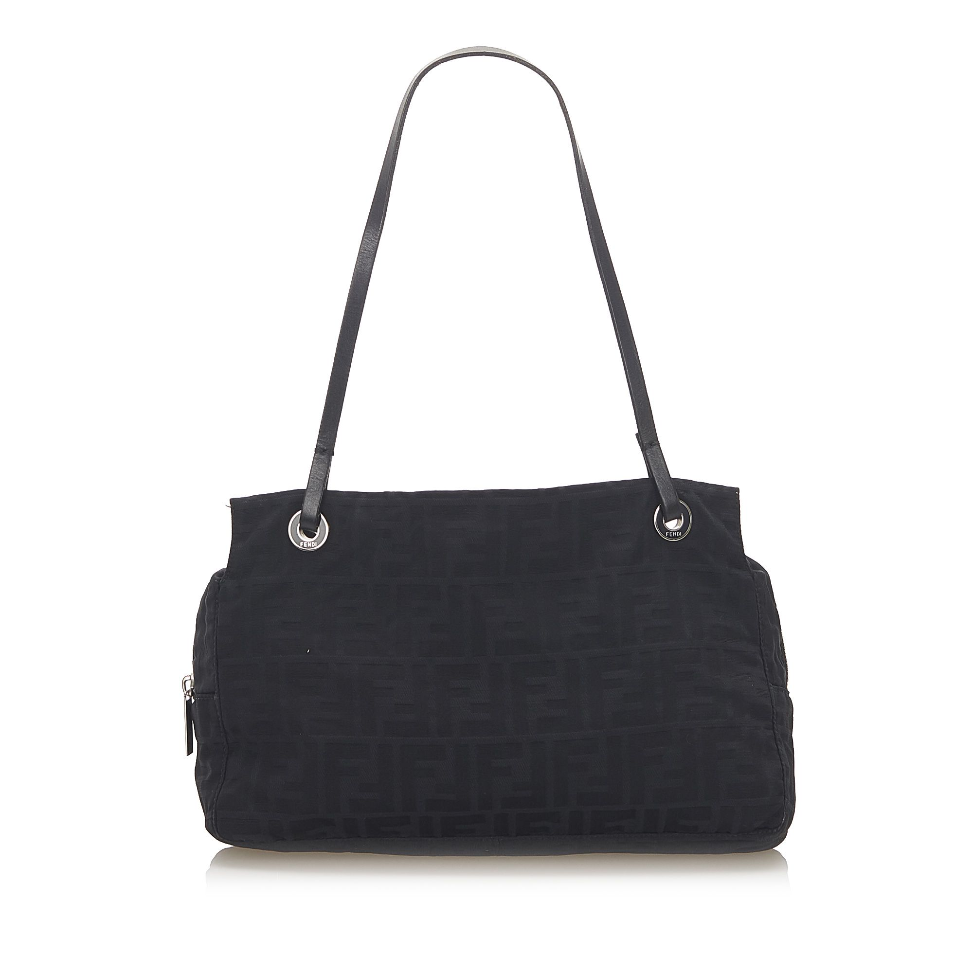 Vintage Fendi Zucca Canvas Shoulder Bag Black