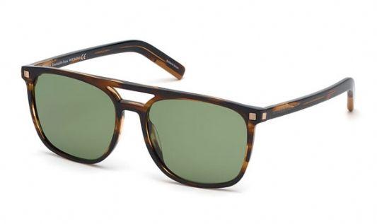 Ermenegildo Zegna Rectangular plastic Unisex Sunglasses Dark Havana / Green