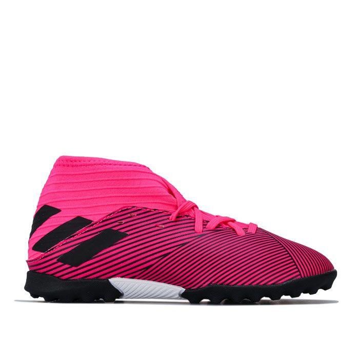 Boy's adidas Junior Nemeziz 19.3 Astro Turf Trainers in Pink
