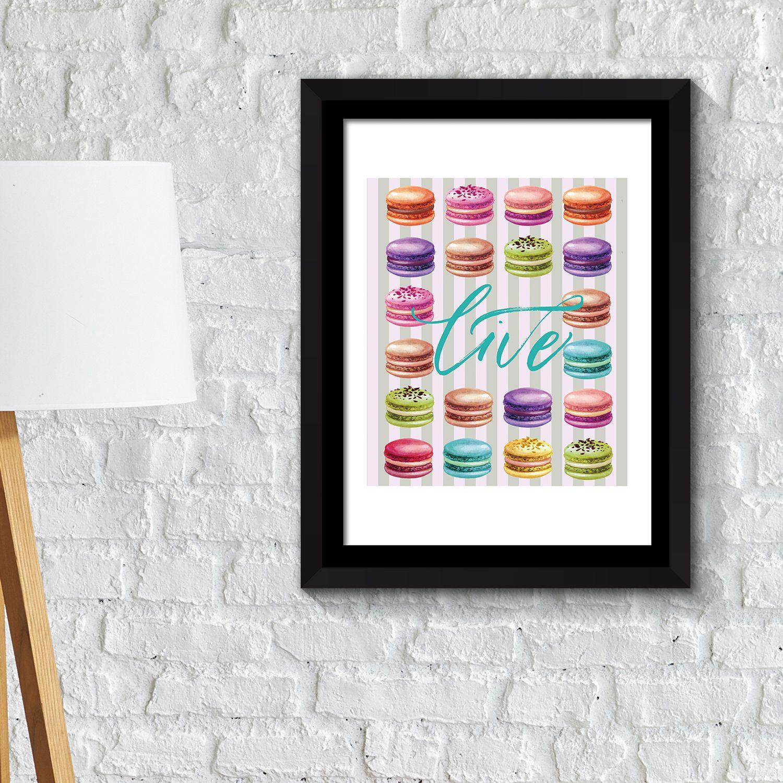 FA2140 - COM - WS2140 + FR030 - Framed Art 2in1 Macaron Desserts Poster
