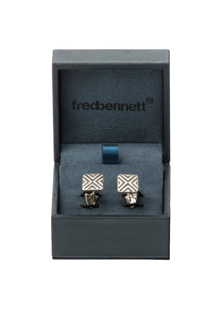 Fred Bennett Mens 925 Sterling Silver Scratched Finish Square Cufflinks