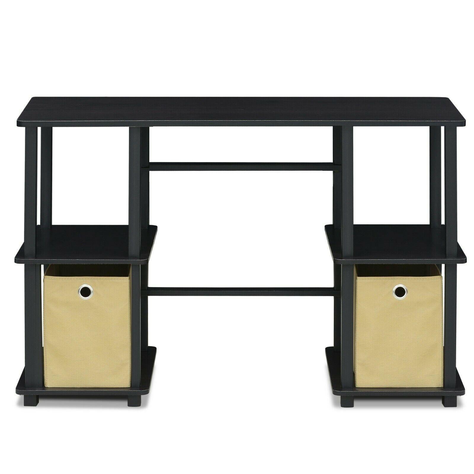 Furinno Turn-N-Tube Computer Desk with Storage Bins, Espresso/Black