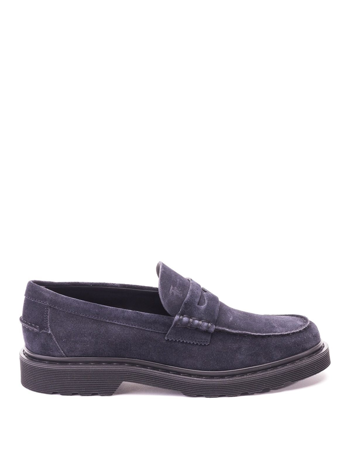 TOD'S MEN'S XXM84B00640RE0U805 BLUE SUEDE LOAFERS