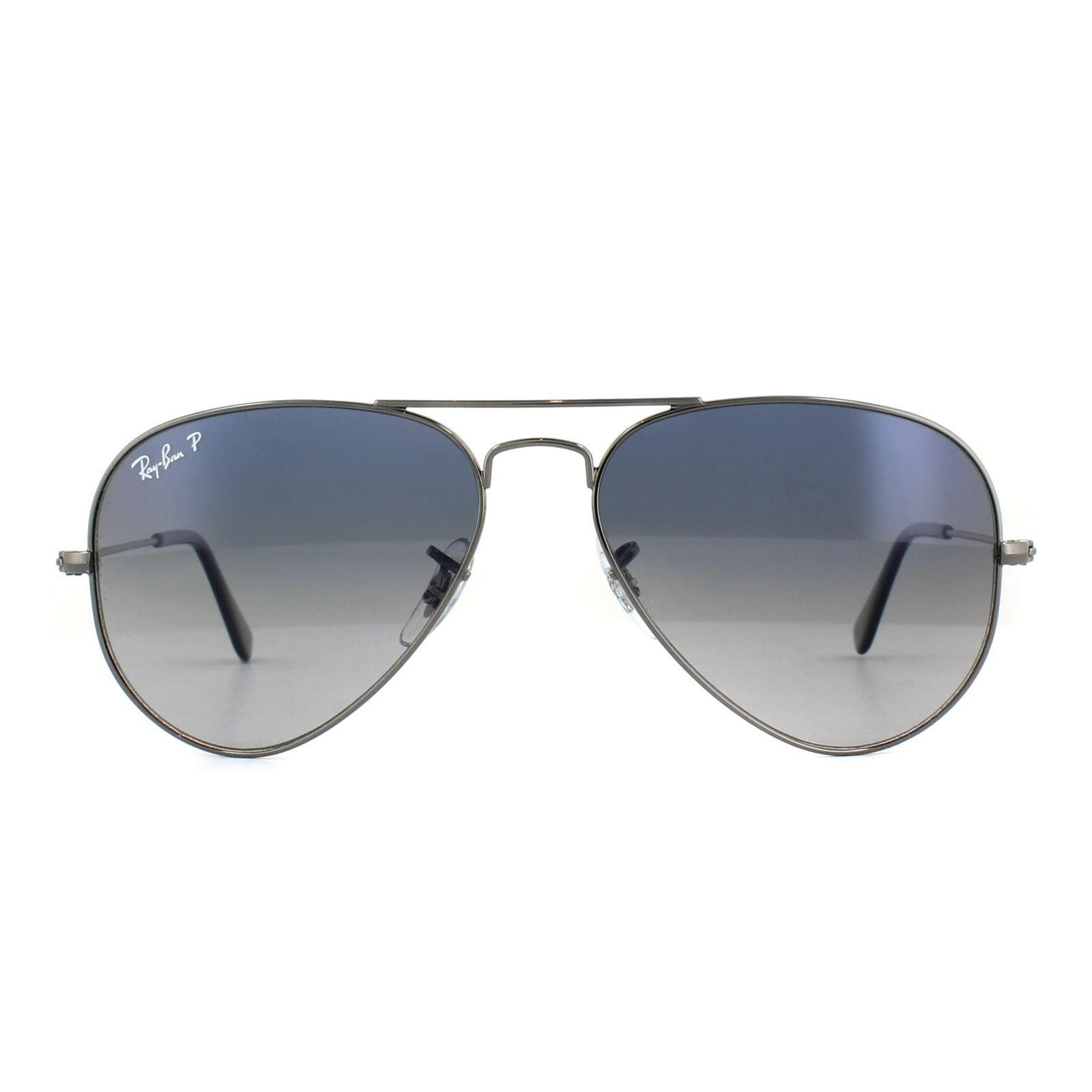 Ray-Ban Sunglasses Aviator 3025 Gunmetal Polarized Blue Gradient Grey 004/78 55mm