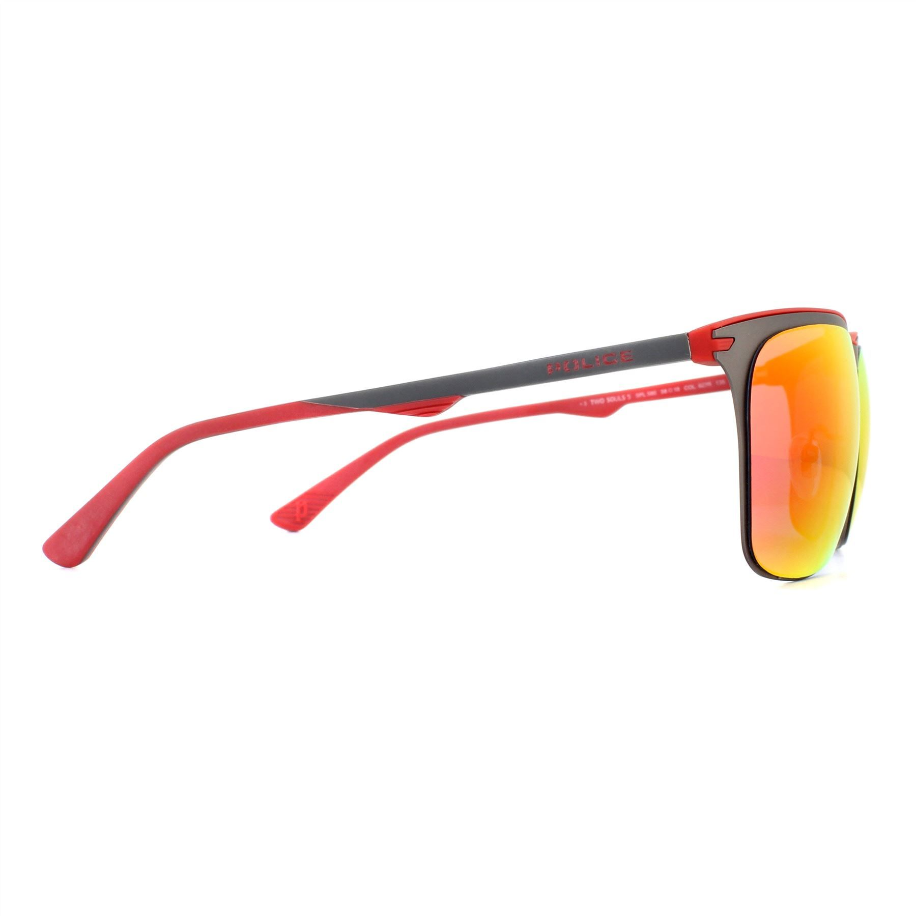 Police Sunglasses SPL580 Two Souls 5 627R Matte Gunmetal Red Multilayer Red