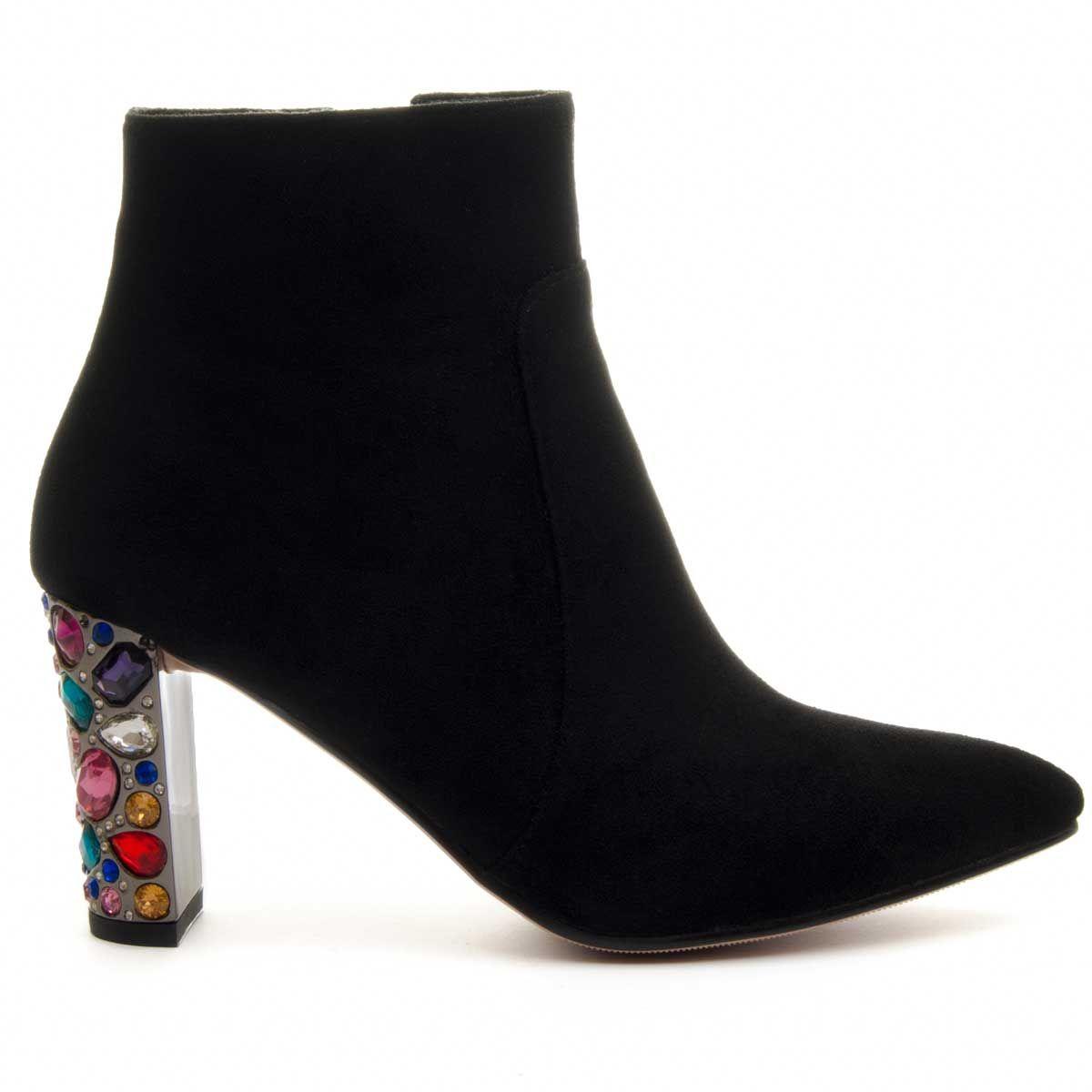 Montevita Jewel Heeled Ankle Boot in Black