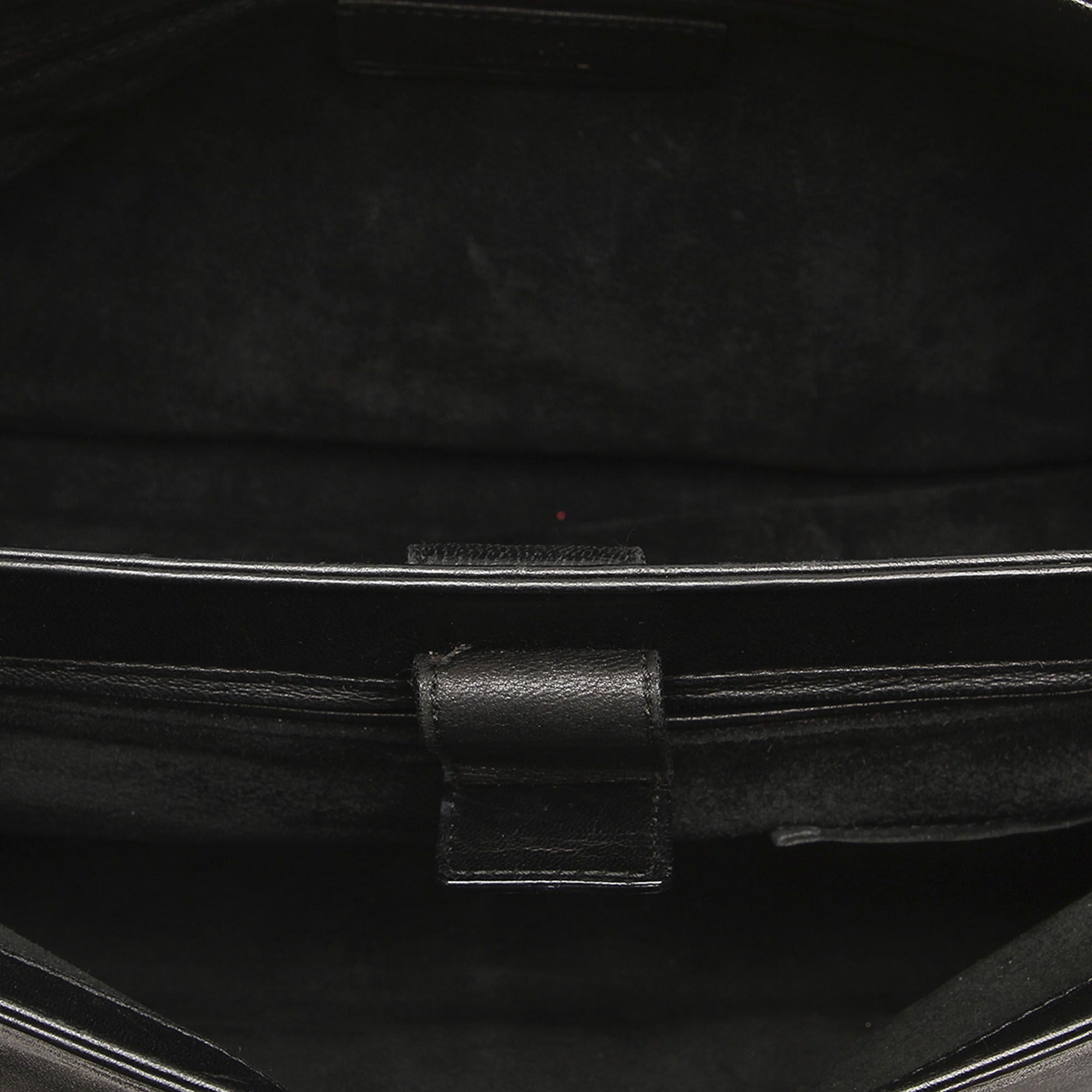 Vintage YSL Mombasa Leather Shoulder Bag Black