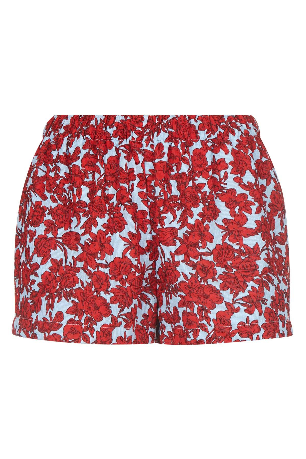 Fools Floral Womens Shorts in Red and Blue