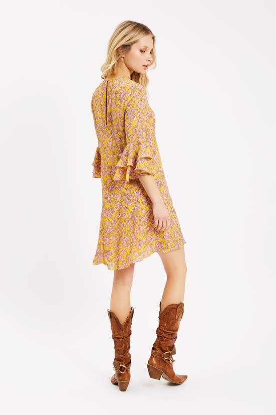 Floral Long Sleeve Printed Mini Dress in Yellow and Pink