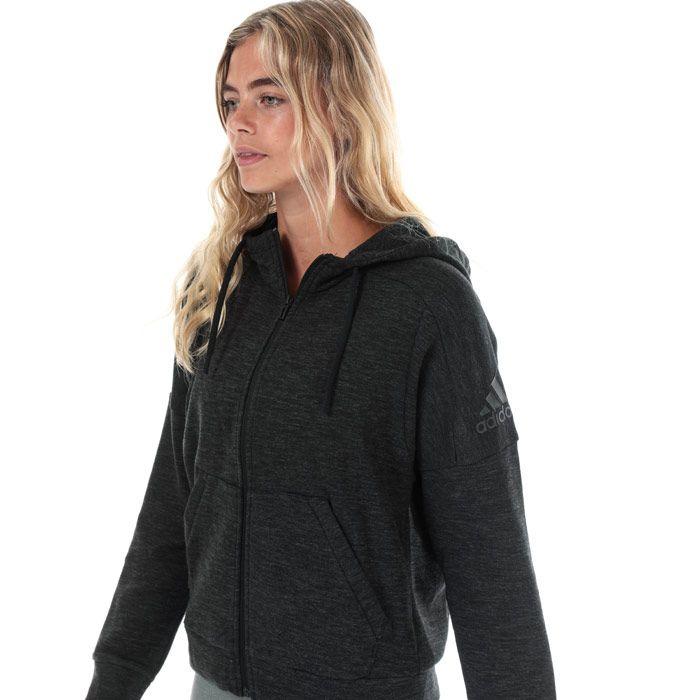 Women's adidas ID Melange Zip Hoody in Black Grey