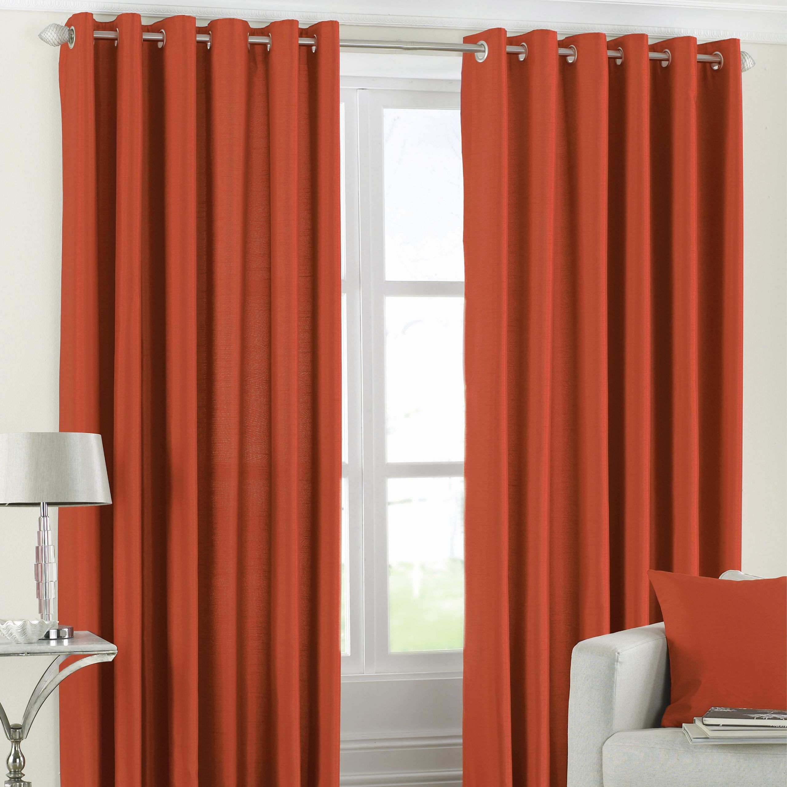 Fiji Silk Effect Eyelet Curtains in Orange