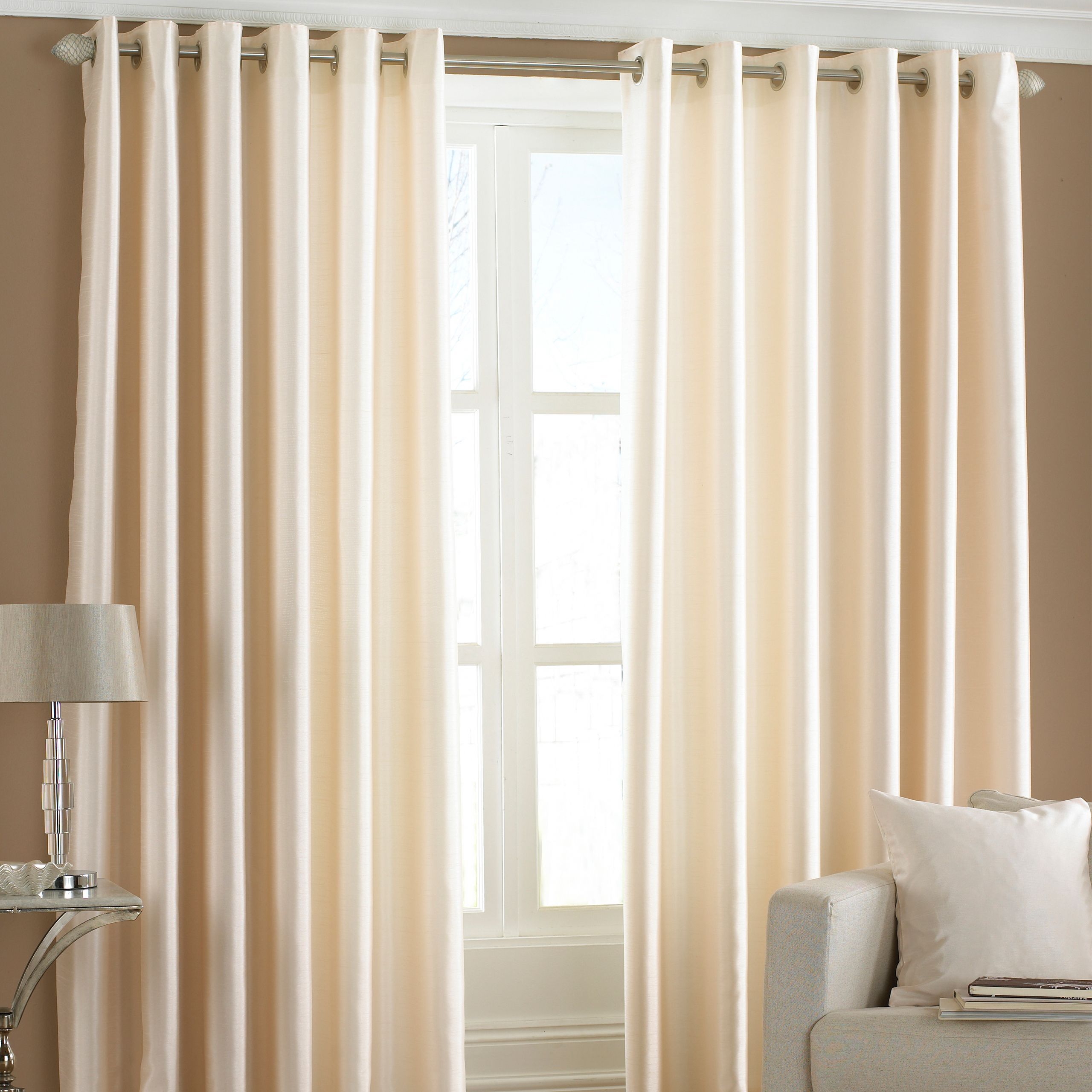 Fiji Silk Effect Eyelet Curtains in Cream