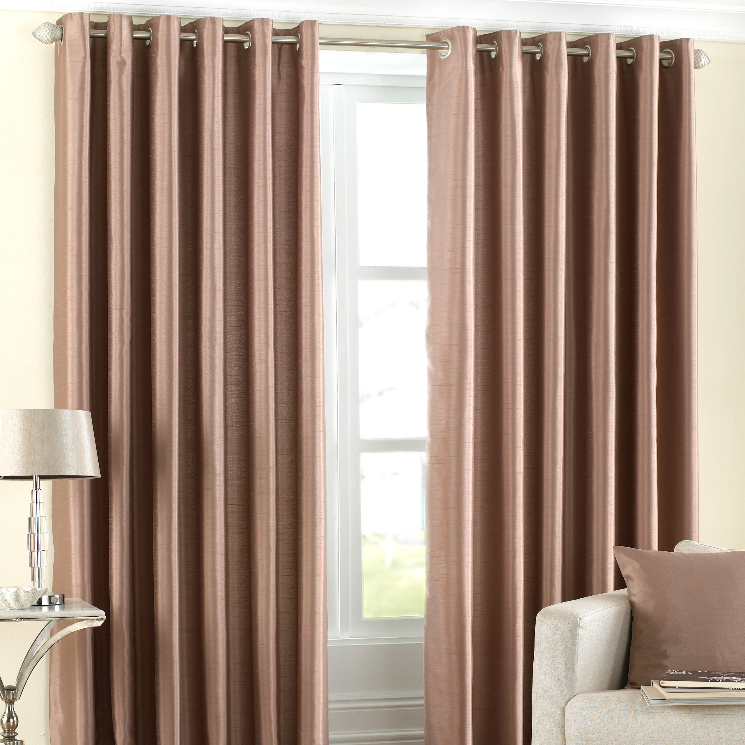 Fiji Silk Effect Eyelet Curtains in Latte