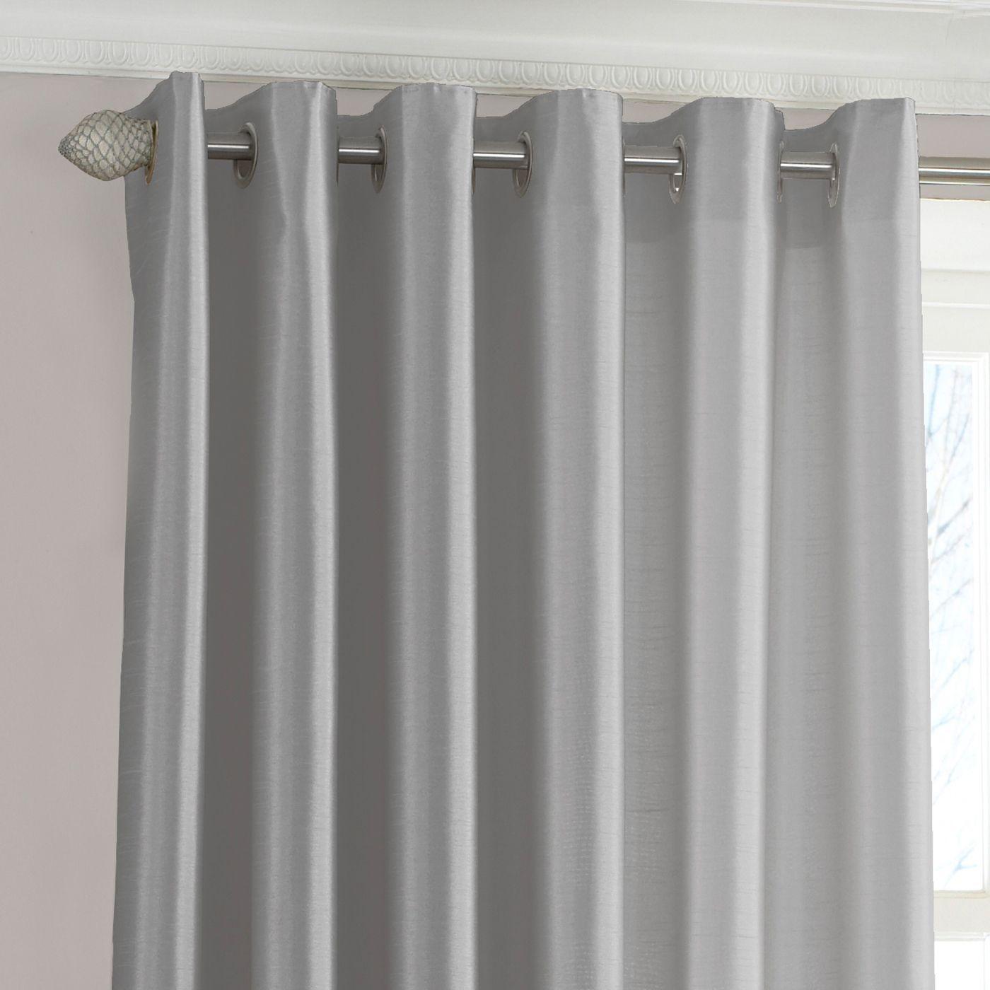 Fiji Silk Effect Eyelet Curtains in Steel