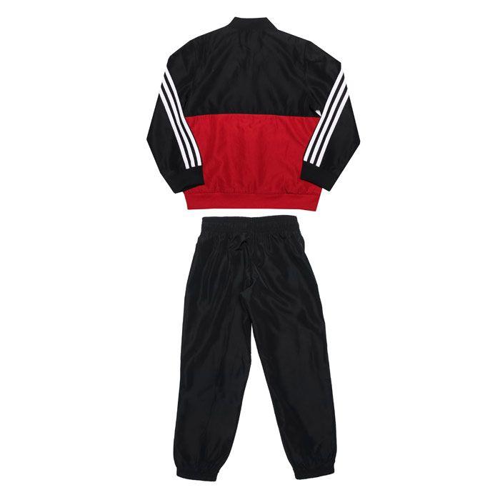 Despertar ayudar Regularmente  Boy's adidas Junior Woven Tracksuit in Black Red
