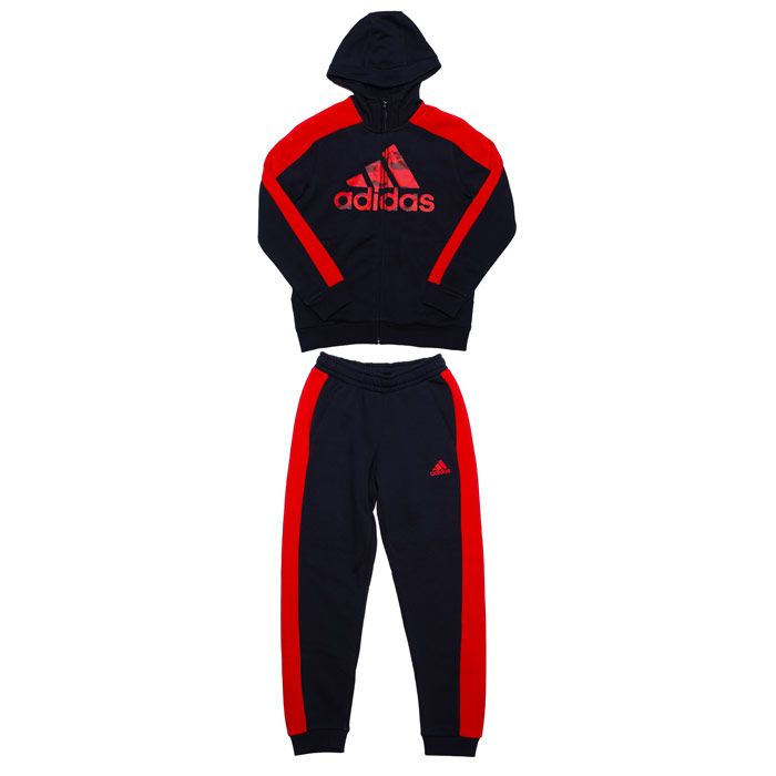 Boy's adidas Junior Graphic Tracksuit in Navy