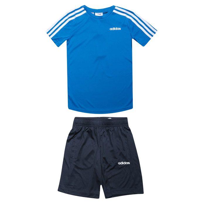 Boy's adidas Infant 3-Stripes Short Set in Blue-White