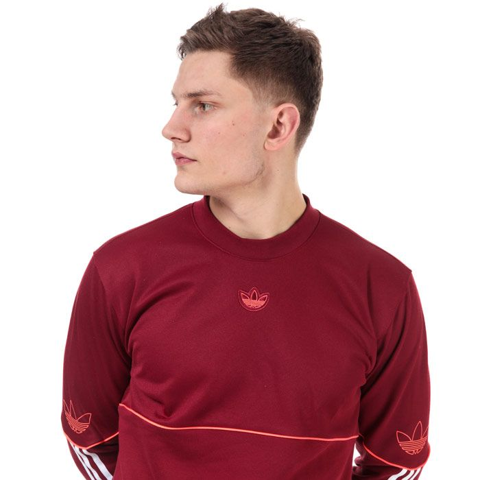 Men's adidas Originals Outline Crew Sweatshirt in Burgundy