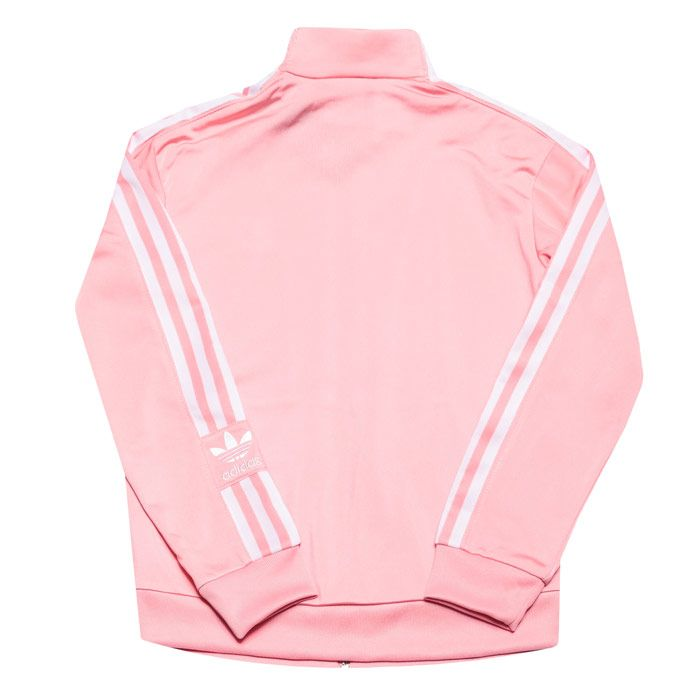 Girl's adidas Originals Junior Lock Up Track Top in Pink white