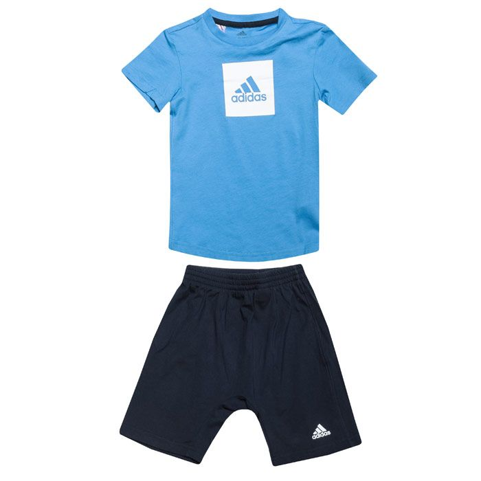 Boy's adidas Baby And Infant Logo Summer Set in Blue-White