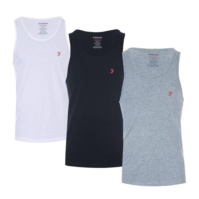Men's Farah Vestu 3 Pack Vests in Black Grey White