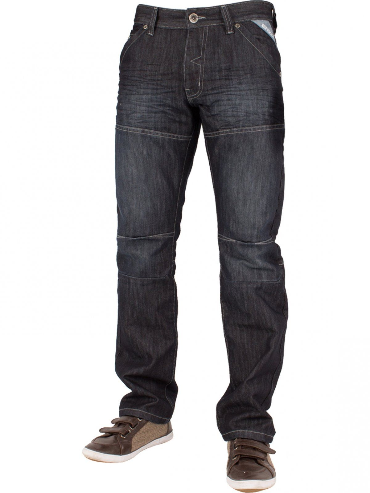 Mens Dark Wash Straight Fit Denim Jeans EZ244 | Enzo Designer Menswear