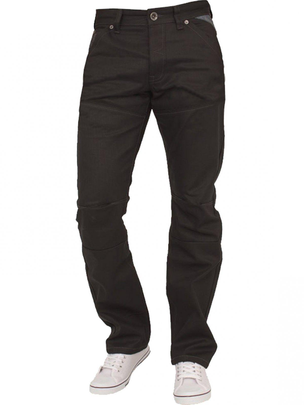 Mens Black Regular Fit Denim Jeans EZ329   Enzo Designer Menswear
