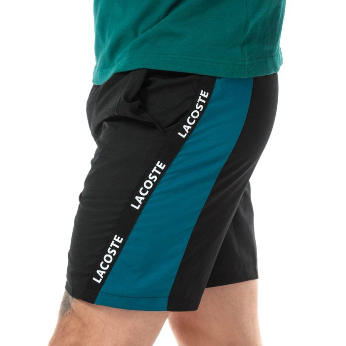 Men's Lacoste Signature Bands Bicolour Shorts in Black