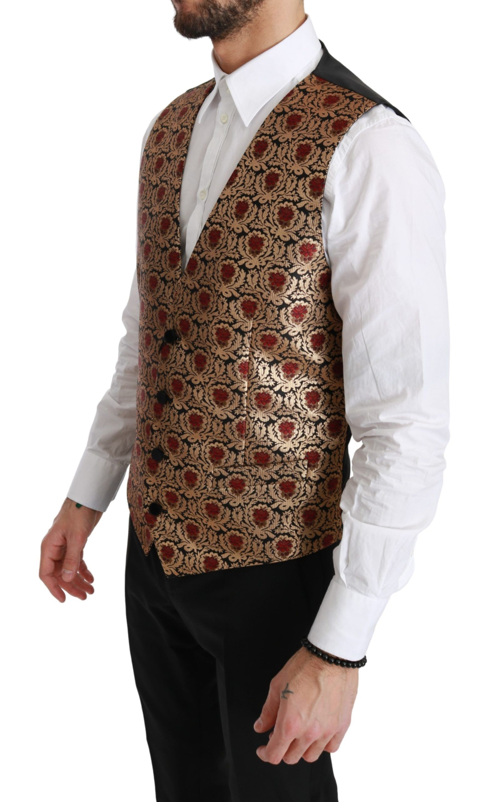Dolce & Gabbana Gold Brocade Waistcoat Formal Polyester Vest