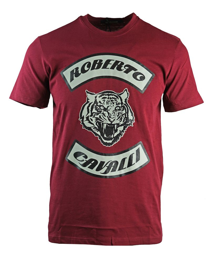 Roberto Cavalli Tiger Head Burgundy T-Shirt