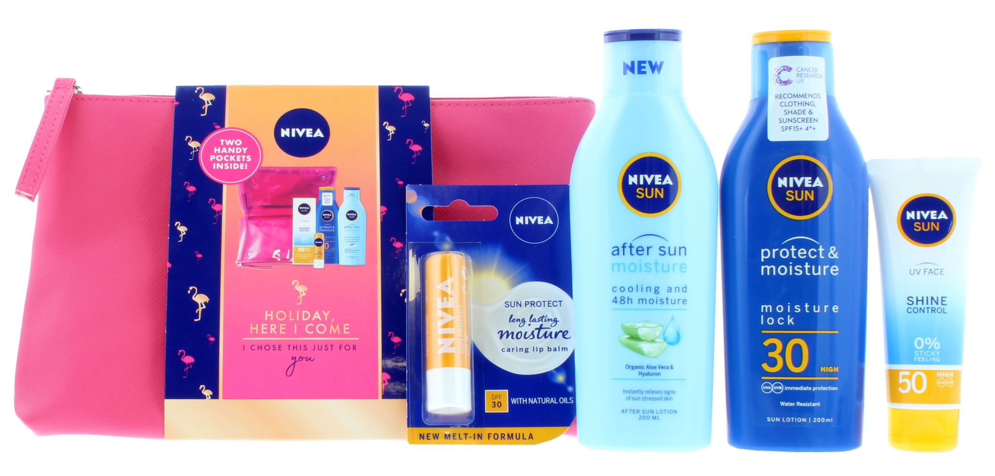2 x Nivea Sun Holiday Here I Come - 200ml SPF30 After Sun, Lip Balm, UV Face