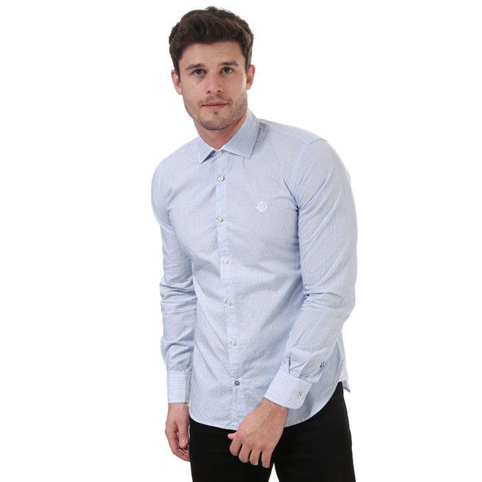 Men's Henri Lloyd Slim Fancy Cotton Shirt in Blue