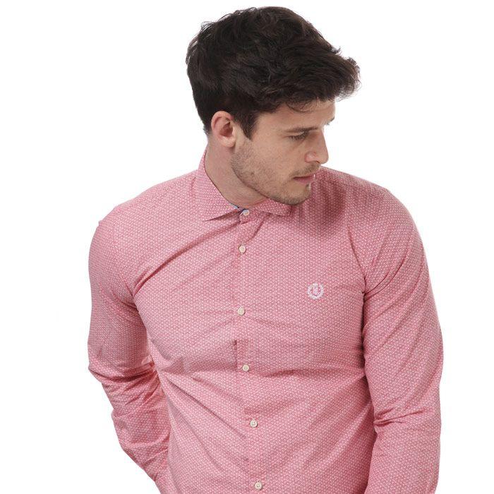 Men's Henri Lloyd Slim Fancy Cotton Shirt in Red