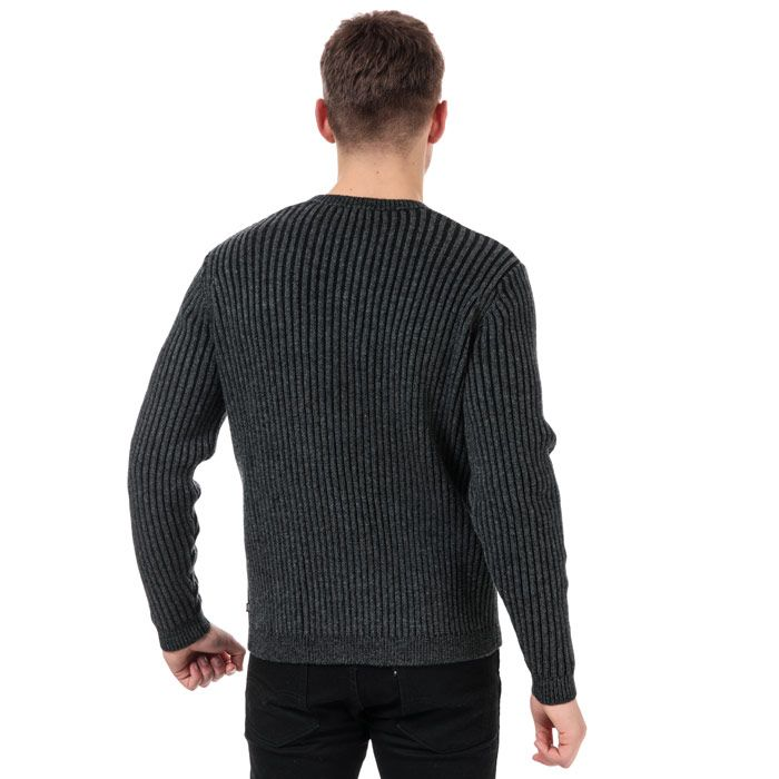 Men's Henri Lloyd Wool Mix Round Neck Jumper in Charcoal
