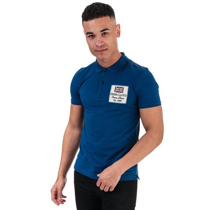 Men's Henri Lloyd Cotton Piquet Patch Polo Shirt in Blue