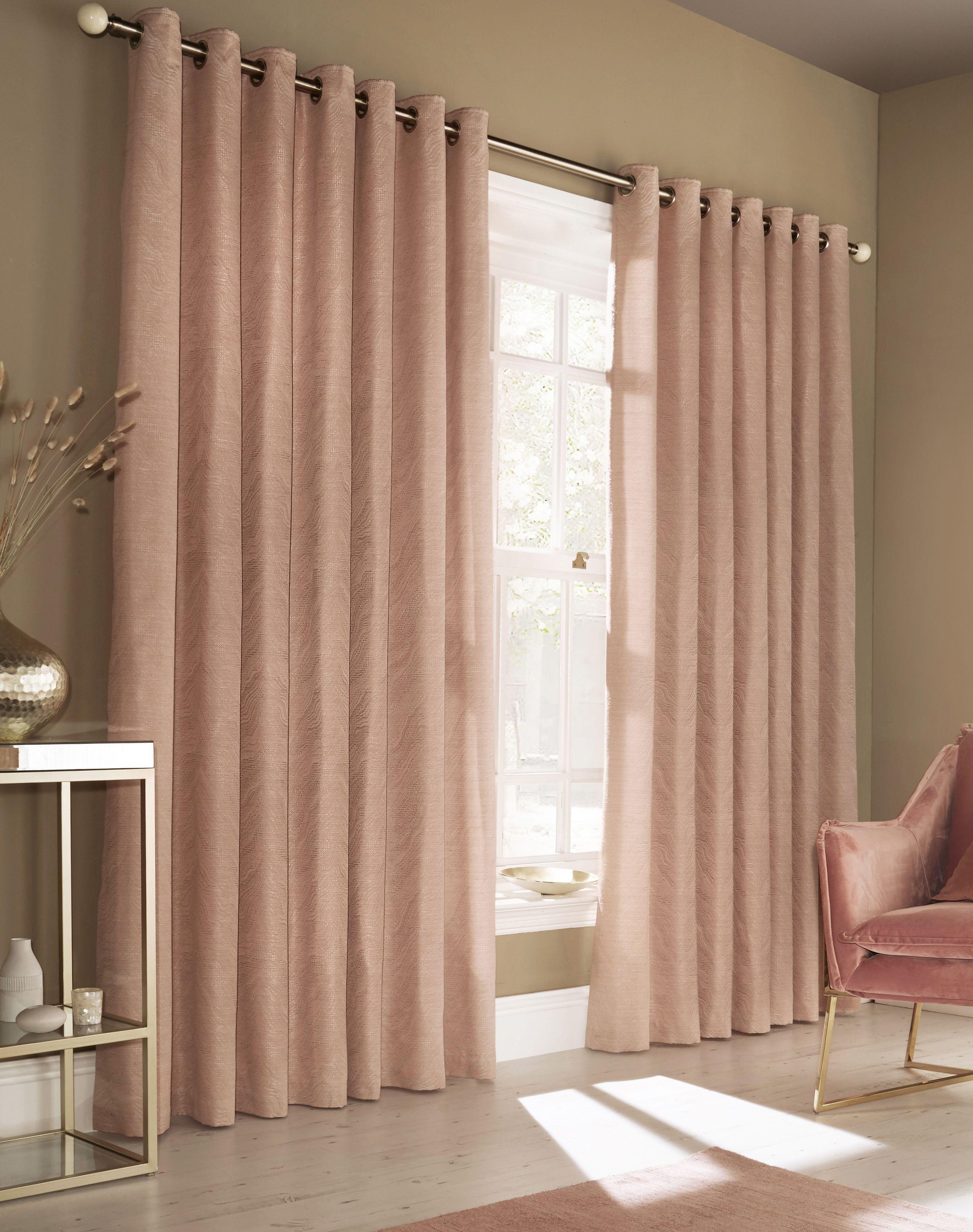 Himalaya Jacquard Eyelet Curtains in Blush