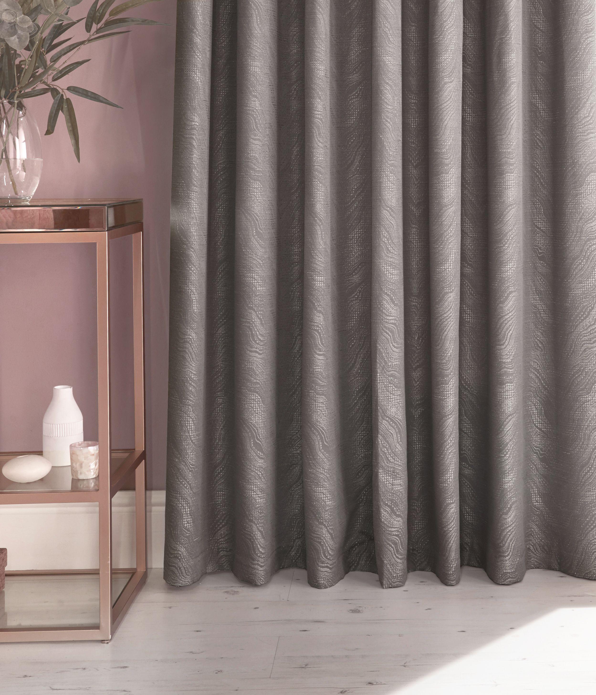 Himalaya Jacquard Eyelet Curtains in Silver