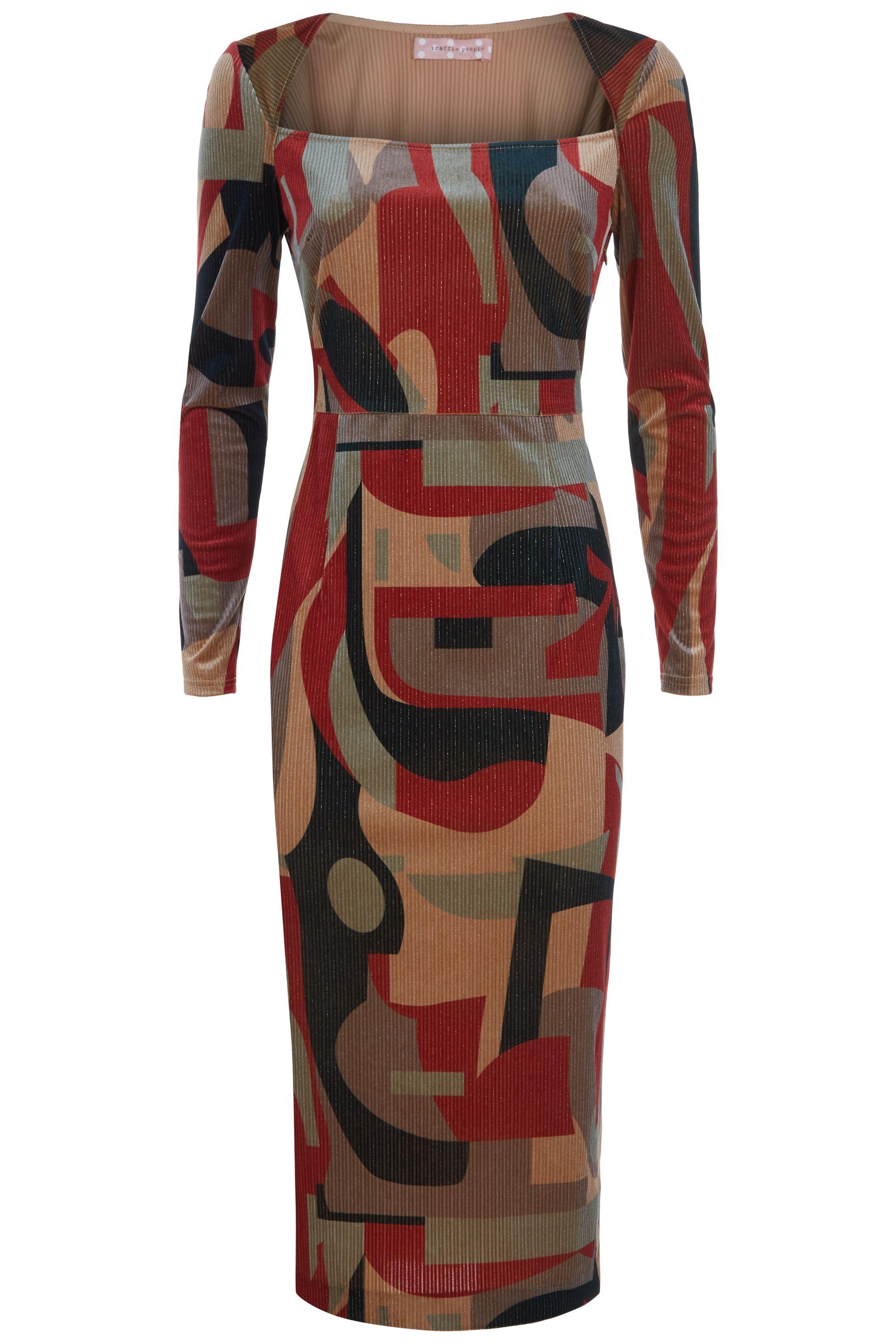 The Maud Tube Midi Dress in Rust and Beige