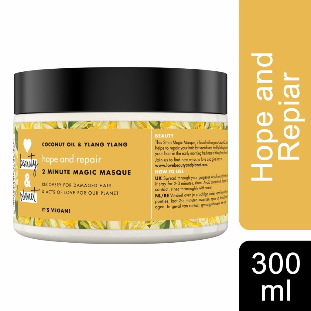Love Beauty & Planet Hope and Repair Coconut Oil & Ylang Ylang 2 Minute Magic Masque 300ml (Pack of 3)