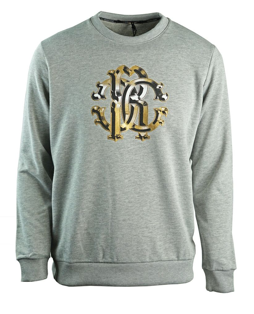 Roberto Cavalli Large Crest Grey Sweatshirt