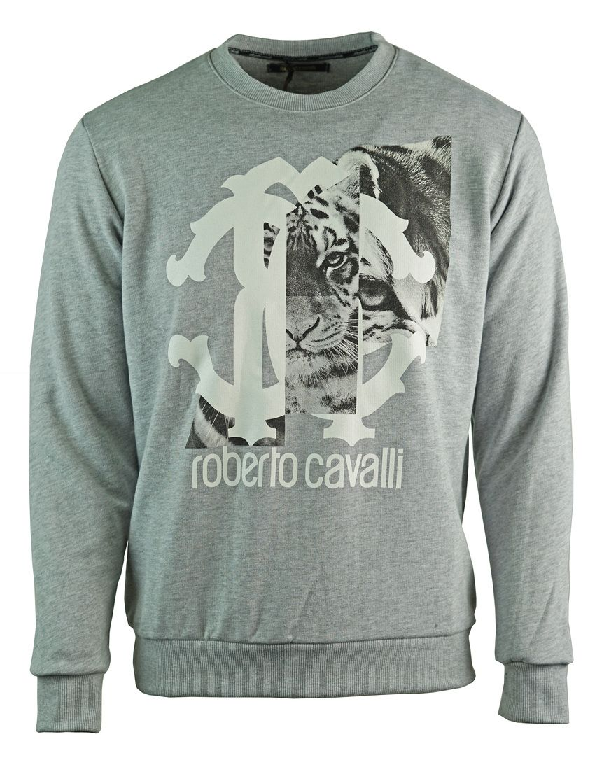 Roberto Cavalli Large Tiger Logo Grey Sweatshirt