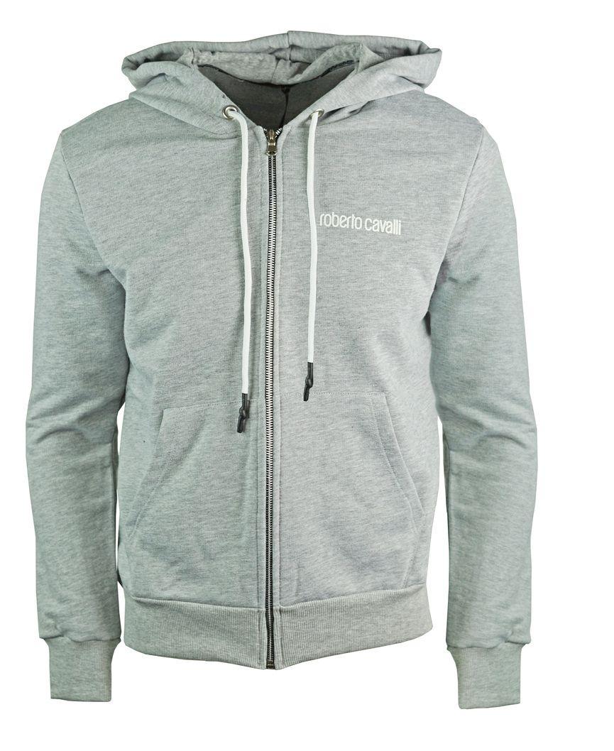 Roberto Cavalli Red Logo Hooded Grey Sweater Jacket