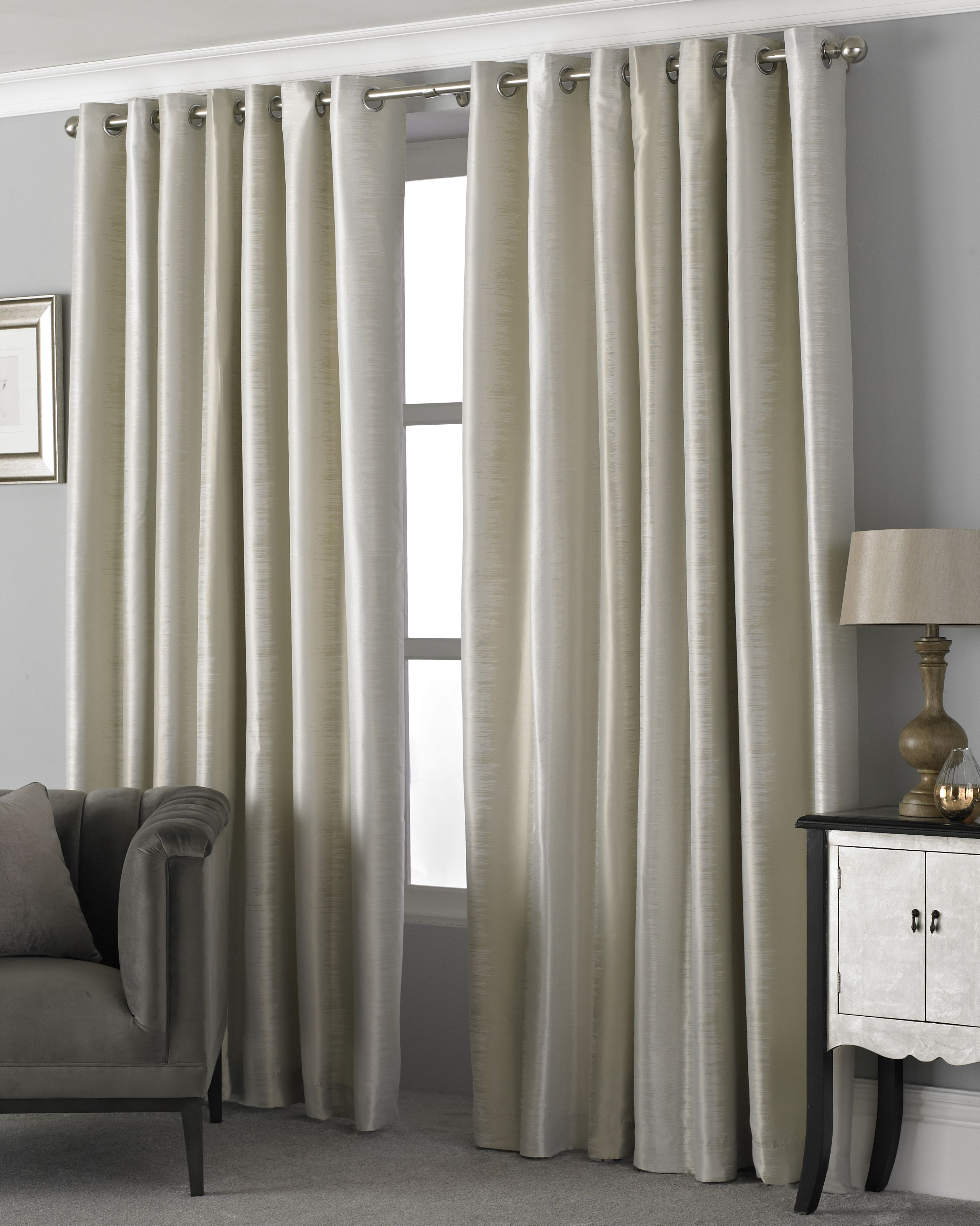 Hurlingham Shimmer Eyelet Curtains in Champagne