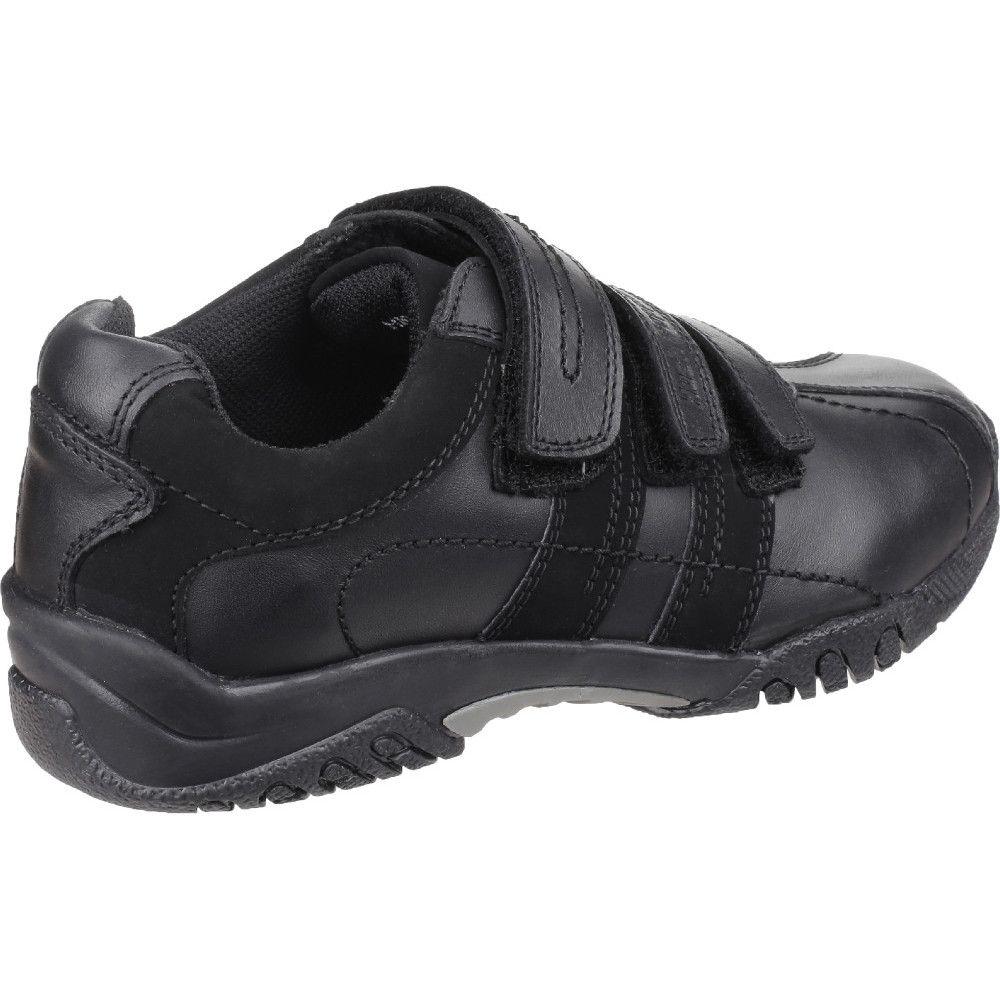 Hush Puppies Boys Seb Leather Padded Three Strap Shoes