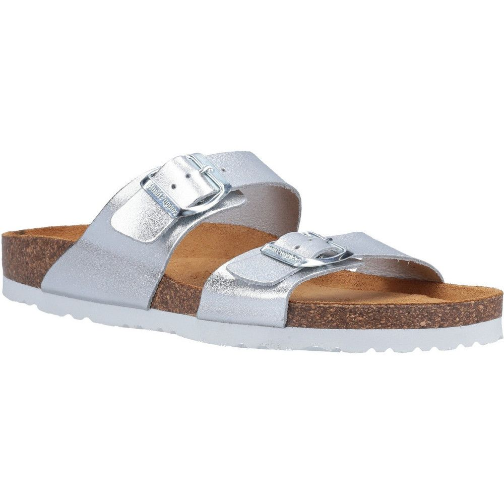 Hush Puppies Womens Kylie Leather Mule Slider Sandals